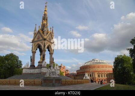 London, United Kingdom - June 6, 2015: The Albert Memorial and Royal Albert Hall at sunset - Stock Photo