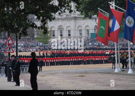 London, United Kingdom - June 13, 2015: Trooping the colour on Horse Guards Parade seen from The Mall - Stock Photo