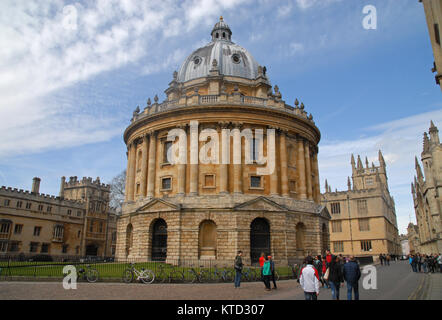 Oxford, United Kingdom - April 12, 2015: Radcliffe Square, Brasenose College, and Bodlian Library building - Stock Photo