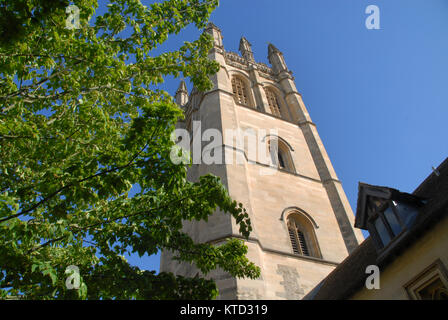 Oxford, United Kingdom - May 18, 2015: Magdalen tower in spring - Stock Photo