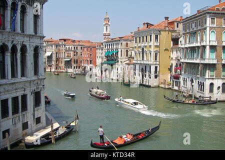 View of Canal Grande from Rialto Bridge in Venice, Italy - Stock Photo