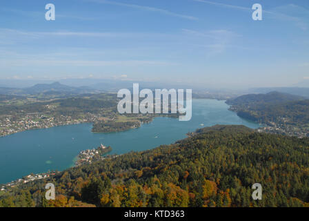 View of Wörthersee, Austria, from Pyramidenkogel - Stock Photo