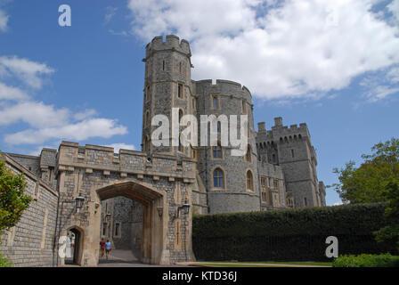 Windsor, United Kingdom - May 16, 2015: St. George´s Gate and King Edward III Tower - Stock Photo