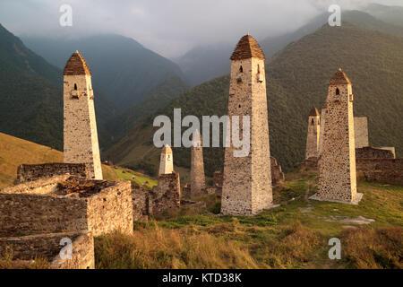 Erzi military medieval towers in the mountains, Ingushetia/Chechnya - Stock Photo