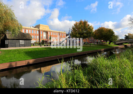 Autumn view over Victoria Park, and the river Sow, Stafford town, Staffordshire, England, UK - Stock Photo