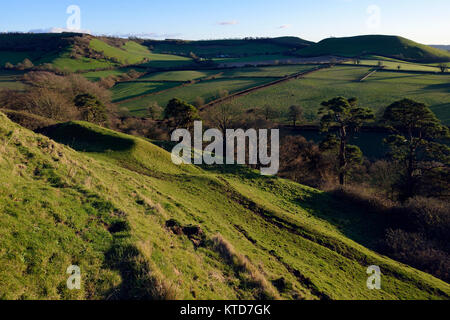 Low Winter Sun on Ramparts of Cadbury Castle with Corton Hill & Whitcombe beyond - Stock Photo