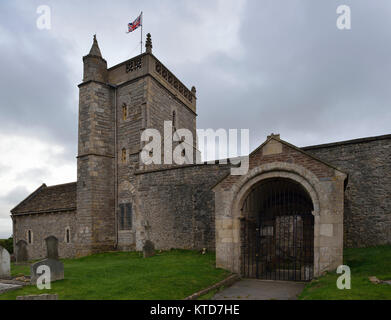 St Nicholas Old Church, Uphill, Weston Super Mare, Somerset  11th century Norman church on top of the cliffs Grade - Stock Photo