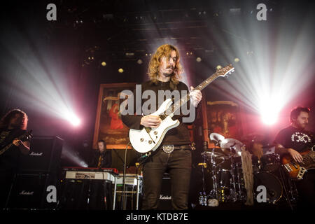 The progressive Swedish death metal band Opeth performs a live concert at VEGA in Copenhagen. Here vocalist and - Stock Photo