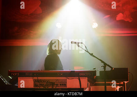 The progressive Swedish death metal band Opeth performs a live concert at VEGA in Copenhagen. Here keyboardist Joakim - Stock Photo