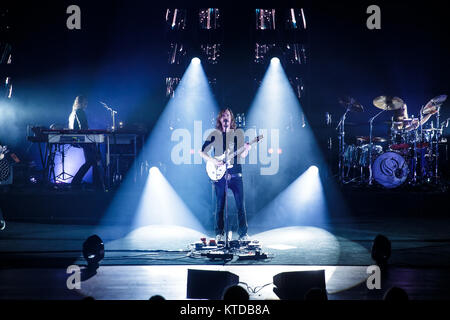 The progressive Swedish death metal band Opeth performs a live concert DR Koncertsalen in Copenhagen. Here vocalist - Stock Photo