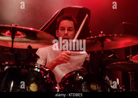 The American punk band Pennywise performs a live concert at Amager Bio in Copenhagen. Here drummer Byron McMackin - Stock Photo