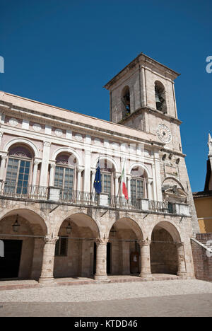 Town Hall in Norcia (before earthquake 2016), Umbria, Italy - Stock Photo