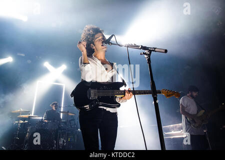 The English indie rock and synth pop band The 1975 performs a live concert at VEGA in Copenhagen. Here lead singer - Stock Photo
