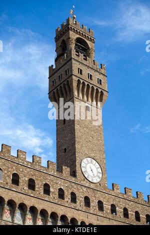 Front of Palazzo Vecchio and the clock tower on Piazza della Signoria, Florence, Tuscany - Stock Photo