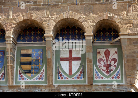 Florence - coats of arms on the wall Palazzo Vecchio - Stock Photo