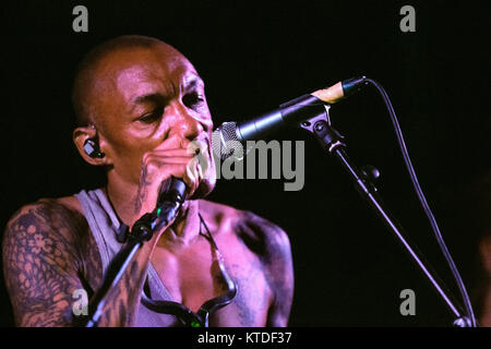 The English trip hop musician, singer and producer Tricky performs a live concert at Forum in Copenhagen. Denmark, - Stock Photo