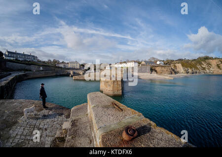 A man and his dog on the harbour at Charlestown, Cornwall. Formerly a port for the export of China Clay it is now - Stock Photo