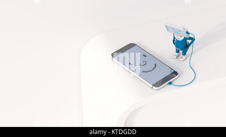3D Illustration, Figurine loading smartphone - Stock Photo