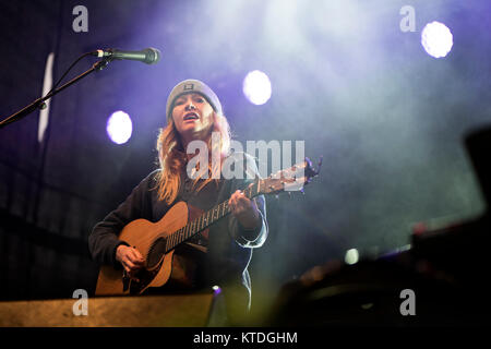 The English singer, songwriter and musciain Lucy Rose performs a live concert at the Faroese music festival G! Festival - Stock Photo