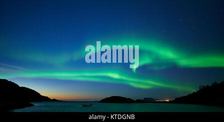 Aurora Borealis, Northern Lights, over Laukvik, Lenvik, Senja, Troms, Norway - Stock Photo