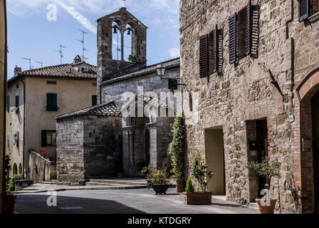 ORCIA VALLEY-JUNE 2:typical street in the small village of San Quirico d'Orcia,Tuscany,Italy,on June,2,2017. - Stock Photo