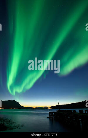 Aurora Borealis, Northern Lights over Astafjorden, Ratangen, Troms, Norway - Stock Photo