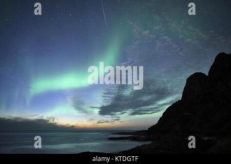 Aurora Borealis, Northern Lights from Noss, Andoya, Andoy, Nordland, Norway - Stock Photo
