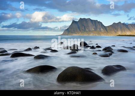 Utakleiv beach, Vestvagoy, Lofoten, Nordland, Norway - Stock Photo