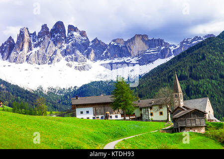 Impressive traditional village in Val di Funes,Dolomites,North Italy. - Stock Photo