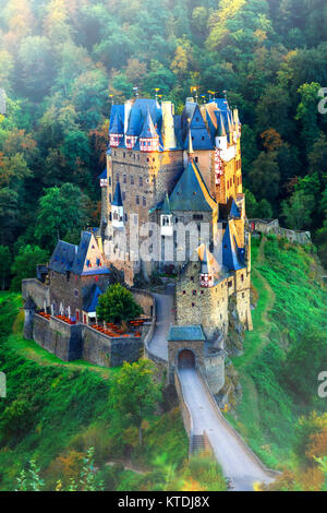 Impressive Burg Eltz medieval castle,panoramic view,Germany. - Stock Photo