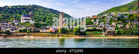 Berautiful Oberwesel village,view with Rhine river,panoramic view ,Germany. - Stock Photo
