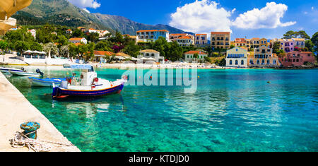 Traditional Assos village,Kefalonia island,Greece. - Stock Photo