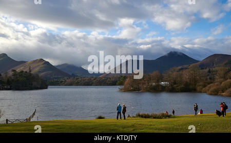 Derwentwater from Crow Park in Keswick with tourists - Stock Photo