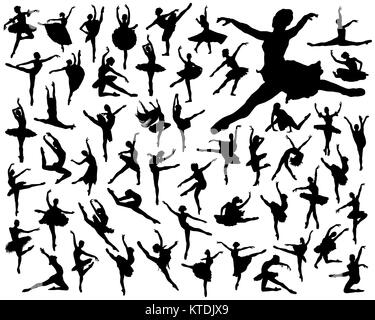 Black silhouettes of ballerinas on a white background - Stock Photo