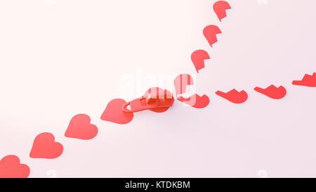 3D Illustration, zipper, heart shape symbols - Stock Photo
