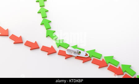 3D Illustration, zipper, arrows, up and down - Stock Photo