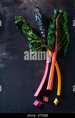 Chopped mangold on dark ground - Stock Photo