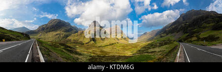 Great Britain, Scotland, Scottish Highlands, Glencoe, Moutain massif Bidean Nam Bian, Pass of Glen Coe - Stock Photo