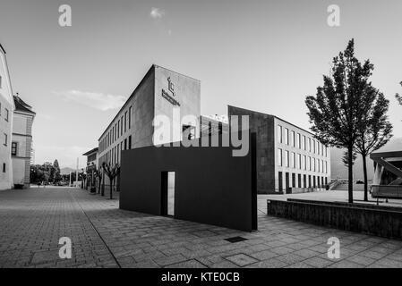 Vaduz, Liechtenstein - May 28, 2016: View of the Landesbank building in Vaduz, Liechtenstein. Black and white photography. - Stock Photo