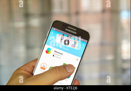 MONTREAL, CANADA - JUNE 24, 2016 : Facebook Moments application on Samsung S7 screen. Facebook Moments is intended - Stock Photo