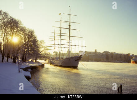 AF CHAPMAN hostels in Stockholm in winterlight and seascape 2009 former training ship for Swedish navy built 1988 - Stock Photo