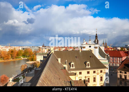 Bird view from the mathematical tower over historical University of Wroclaw and the river. Historical capital of - Stock Photo