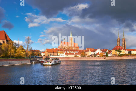 Wroclaw. Cathedral of St. John under dramatic sky in Fall, panoramic image - Stock Photo