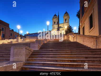Monumental staircase Spanish Steps and and Trinita dei Monti church in Rome, Italy, at night - Stock Photo