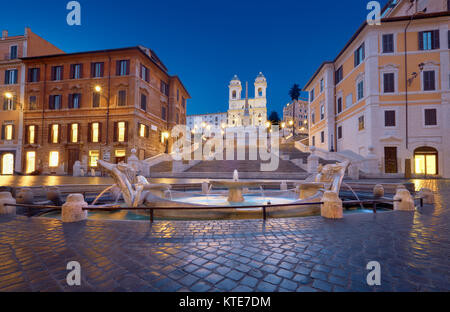 Monumental staircase Spanish Steps and and Trinita dei Monti church, evening view from Piazza di Spagna in Rome, - Stock Photo