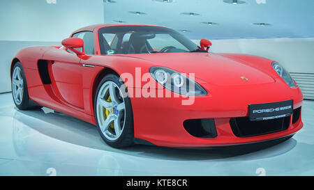 STUTTGART, GERMANY-APRIL 7, 2017: 2003 Porsche Carrera GT in the Porsche Museum. This car is the one of the most - Stock Photo