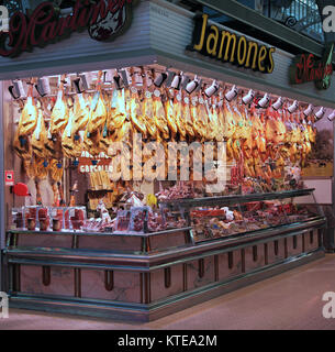 Jamon Iberico.Pata negra.Iberico ham.Spanish Ham.at the Central Market Mercado Central Mercat Central in Valencia - Stock Photo