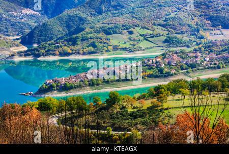 Impressive Colle di Tora village,panoramic view,Turno lake,Lazio,Italy. - Stock Photo