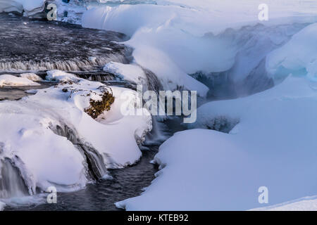 Gjallandi waterfall in river Skjalfandafljot. Highlands of Iceland. - Stock Photo
