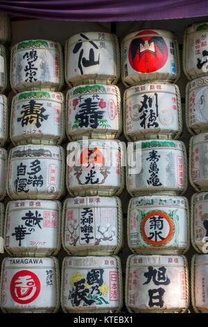 Barrels of Sake in Yoyogi Park, Tokyo, Japan in autumn - Stock Photo